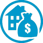 Image silhouettes of a house and bag of money to represent a mortgage